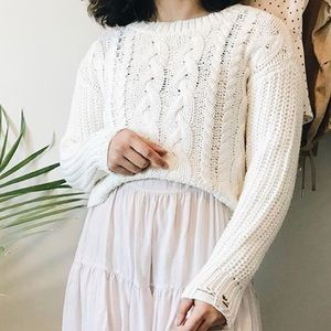 Garage White Cropped Sweater